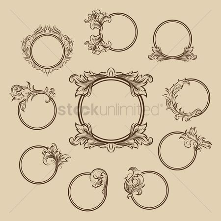 Ornament : Collection of circular ornamental frames