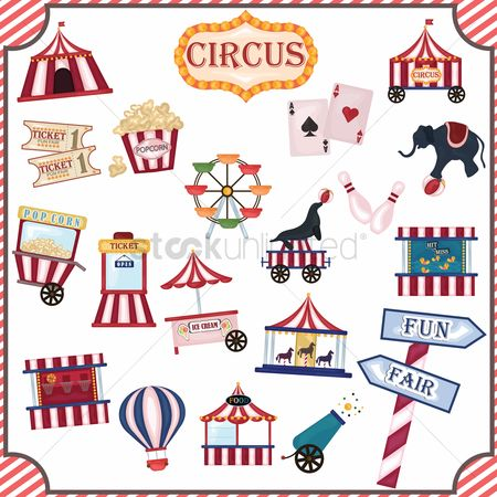 Wheel : Collection of circus icons
