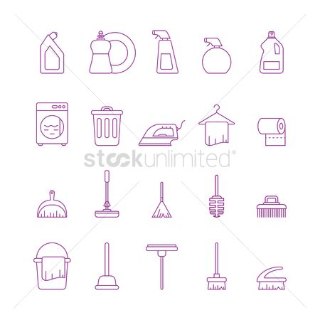 Dishes : Collection of cleaning icons