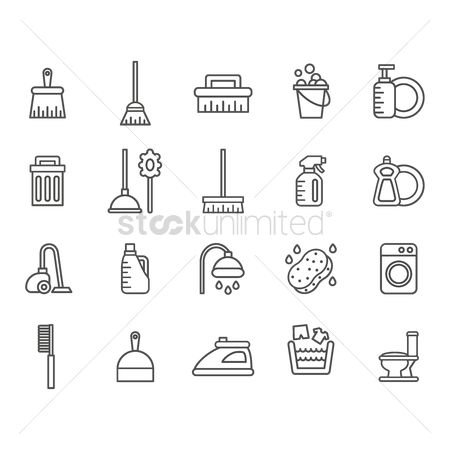 Broom : Collection of cleaning supplies icons