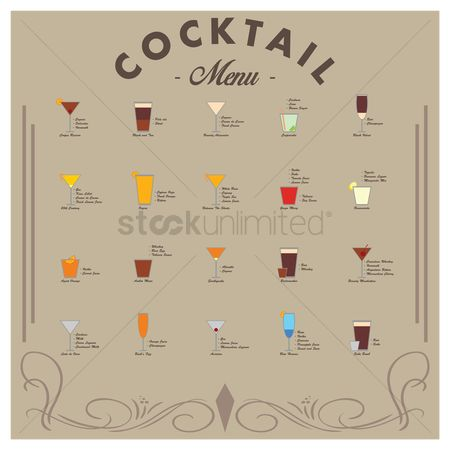 Beverage : Collection of cocktails menu