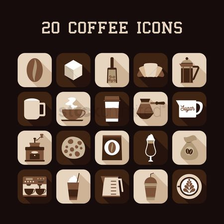 Croissants : Collection of coffee icons