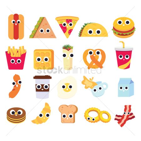 French : Collection of cute foods