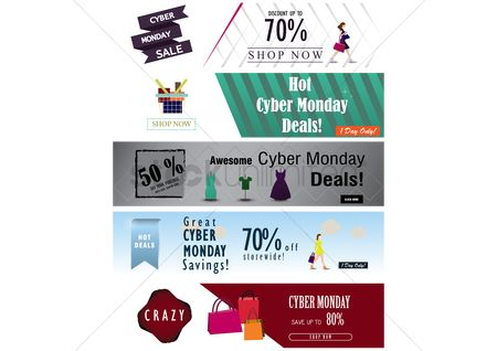 Monday : Collection of cyber monday sale banners