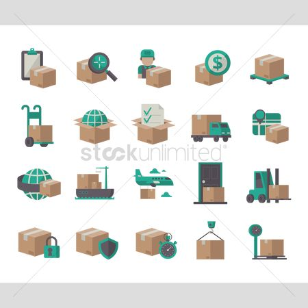 Boxes : Collection of delivery service icons