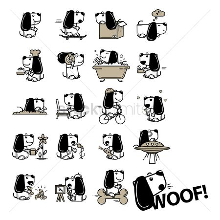 Cartoon : Collection of different activities of dog