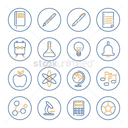 School bag : Collection of education icons