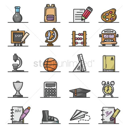 Blackboard : Collection of education icons