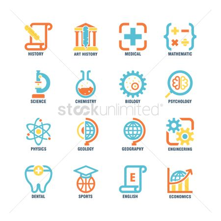 Physic : Collection of educational subject icons