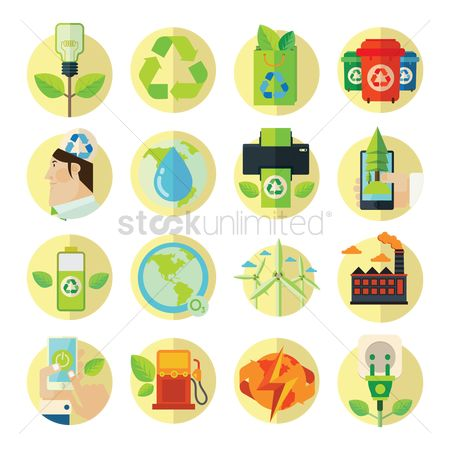 Gases : Collection of environment friendly icons
