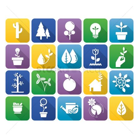 Flower pot : Collection of environmental icons
