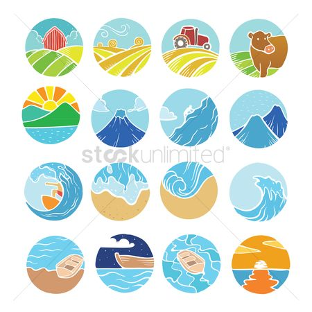 Surf beach : Collection of farm beach and mountain icons