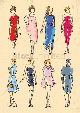 Arm : Collection of fashion model in dresses