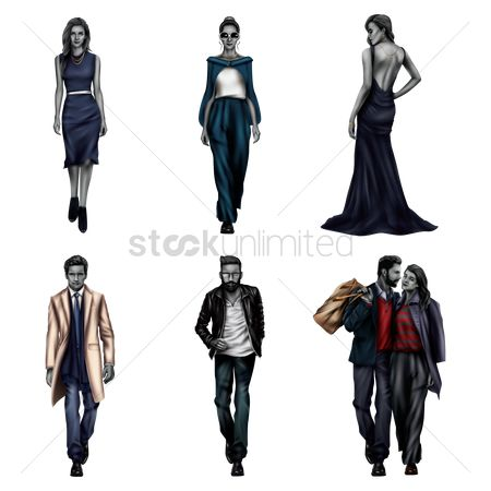Posing : Collection of fashionable models