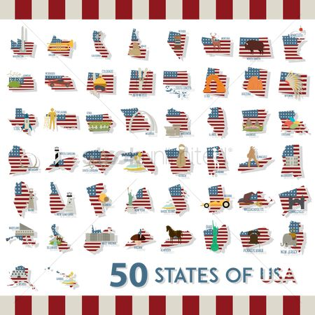 Head : Collection of fifty states of usa