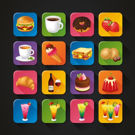 Croissants : Collection of food and drink icons