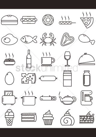 Burgers : Collection of food icons
