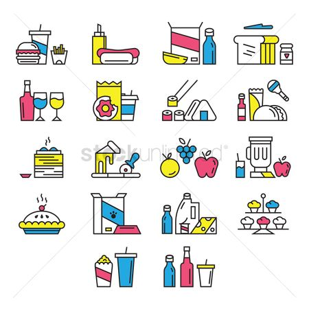 Junk food : Collection of food icons