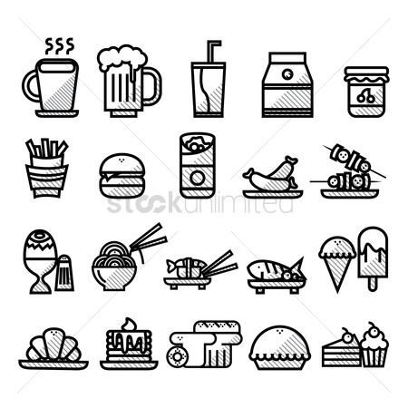 Croissant : Collection of food icons