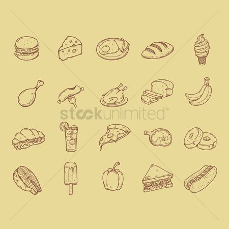 Bananas : Collection of food icons
