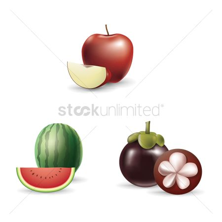 Watermelon slice : Collection of fruit and slices