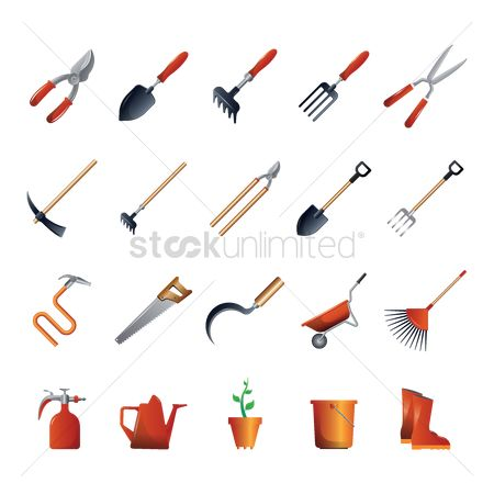Agriculture : Collection of gardening tools