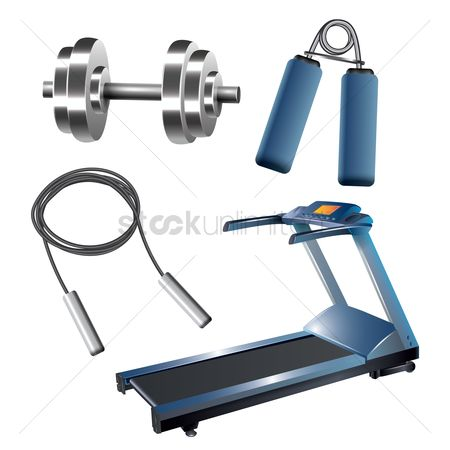 Treadmill : Collection of gym equipment