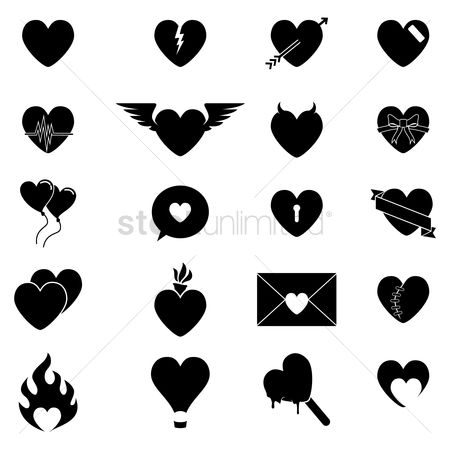 Gifts : Collection of heart shaped icons