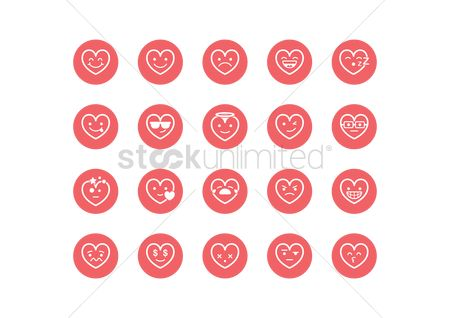 Expression : Collection of heart smiley icons