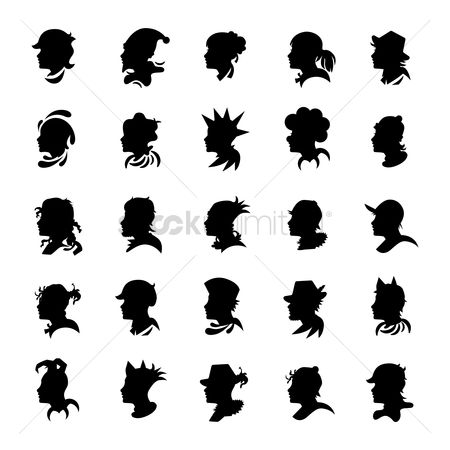 Hairstyle : Collection of human face silhouette