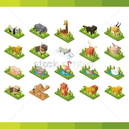 Bull : Collection of isometric animals