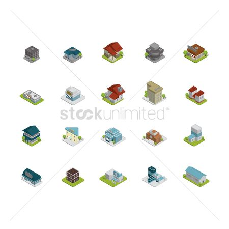 Medical : Collection of isometric buildings