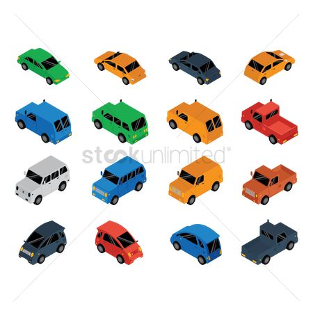 Pick up : Collection of isometric cars