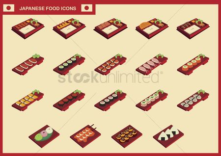 Japanese cuisines : Collection of japanese food icons