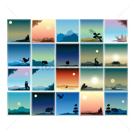 Owl : Collection of landscape background design