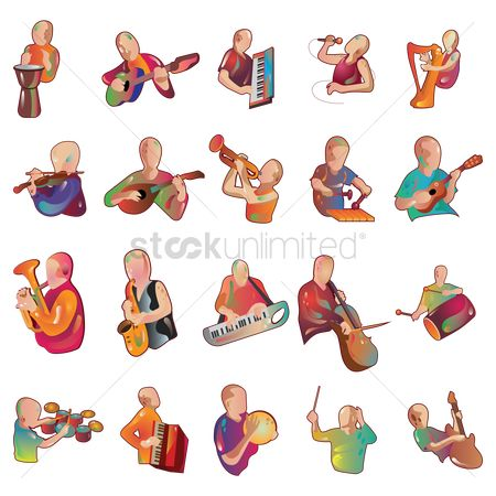 French : Collection of man playing instruments