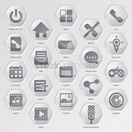 User interface : Collection of media icon