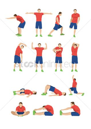 Lifestyle : Collection of men doing stretching