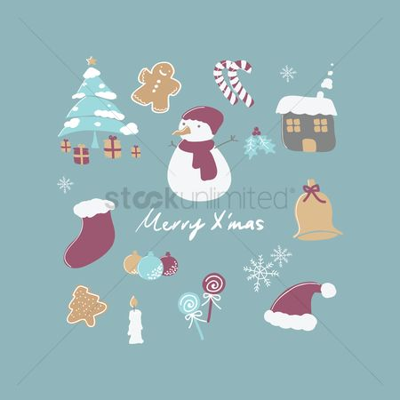 Cottage : Collection of merry christmas items
