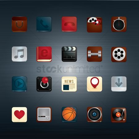 Icons news : Collection of mobile application buttons