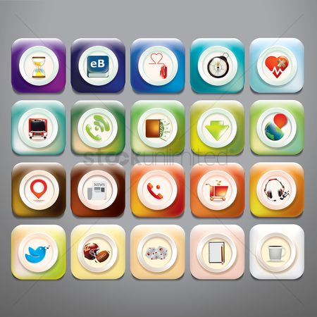 Online shopping : Collection of mobile application icons