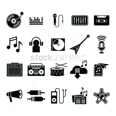 Icons news : Collection of music icons
