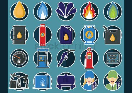 Fuel : Collection of oil and gas icons