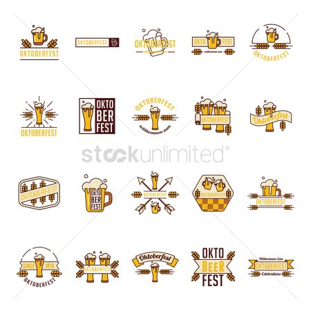 Beer mug : Collection of oktoberfest icons