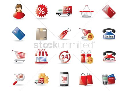 Shopping cart : Collection of online shopping icons
