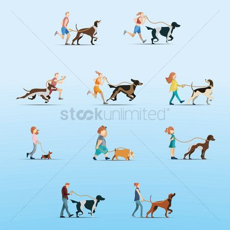 Cartoon : Collection of people walking with dog