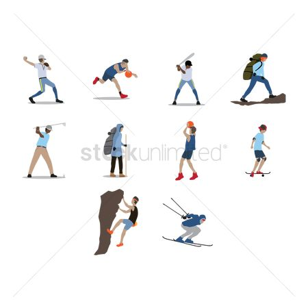Skiing : Collection of people with activities