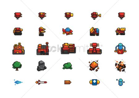 Tanks : Collection of pixel art game items