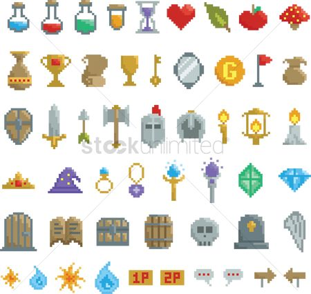 Staffs : Collection of pixel game items