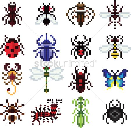 Ladybird : Collection of pixel insects and animals